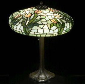 Lighting Table Lamp Its Mushroom Shaped Leaded Gl