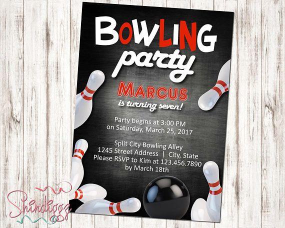 Bowling invitation, bowling birthday invitation, bowling party - bowling invitation