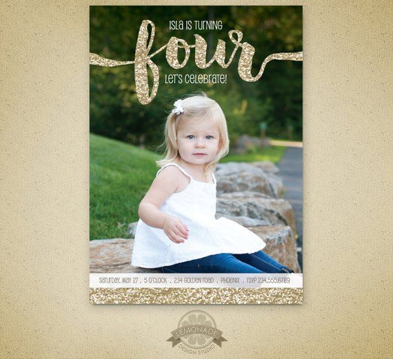Gold Glitter Birthday Invitation