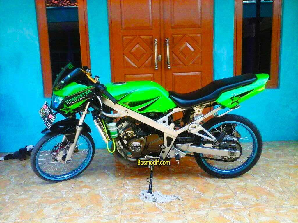 Modifikasi Motor Kawasaki Ninja R Rr Warna Hijau Sederhana