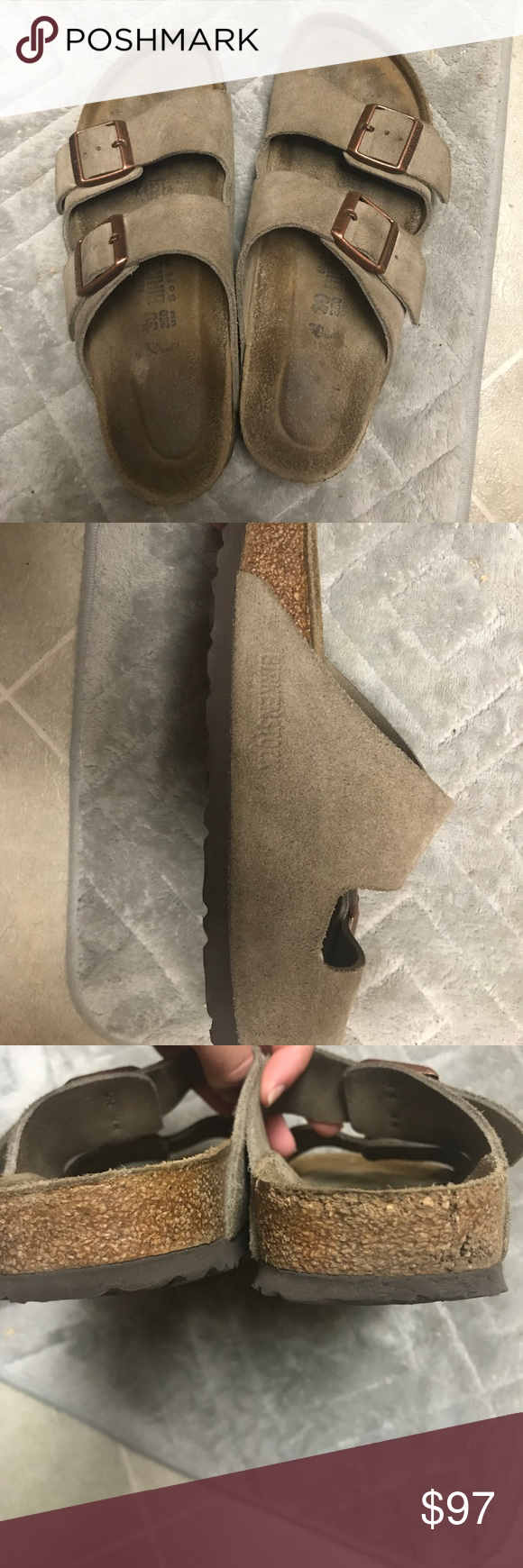 Birkenstock Sandal Selling my suede taupe soft footbed Birkenstock sandals. I love them but they just don't fit how I want them to :( They are lightly worn only a few times and still have a lot of life left in them. If anyone has these exact ones in a size 37-38 I'm willing to trade based off of how worn they are obviously. Birkenstock Shoes Sandals