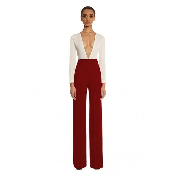Laurent High Waisted Trousers Berry Rust ($230) ❤ liked on Polyvore featuring pants, high-waisted pants, wide leg trousers, high rise pants, white wide leg pants and high rise wide leg pants