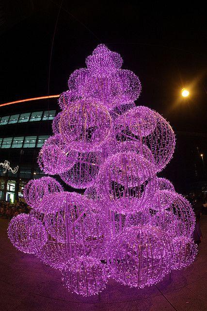 Hot Pink Lighted Swirled Ball Christmas Tree!!! Bebe'!!! Beautifully  lighted hot pink illumination!!! - It's Christmas! Hot Pink Christmas Pinterest Christmas