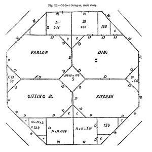 Octagon house plans home vintage blueprint design custom for Octagon deck plans