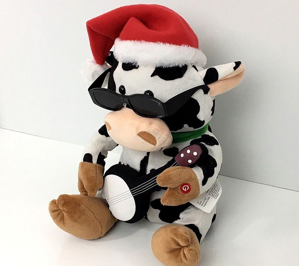 fd408ea1ce398 Gemmy Christmas Cow Animated Plush Singing Toy Guitar Santa Hat See VIDEO!   Gemmy