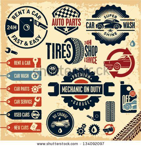 Car service icons. Auto parts. Rent a car. Car wash. Retro vintage ...