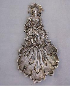 Antique English Silver Tea Caddy Spoon - Chinoiserie Style - ⎬ ❖ Maria Elena Garcia -  ► www.pinterest.com/megardel/ ◀︎