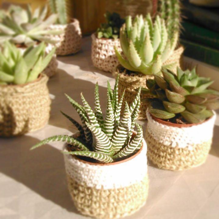 Petits Cache Pots Au Crochet Mini Plante Grasse Cadeaux Aux