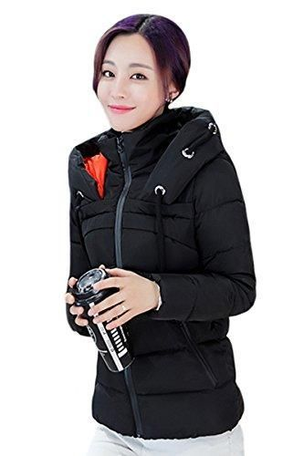 YMING Women's Short Down Coat Cotton Parka Faux Fur Collar Hooded Coat Quilted Jacket