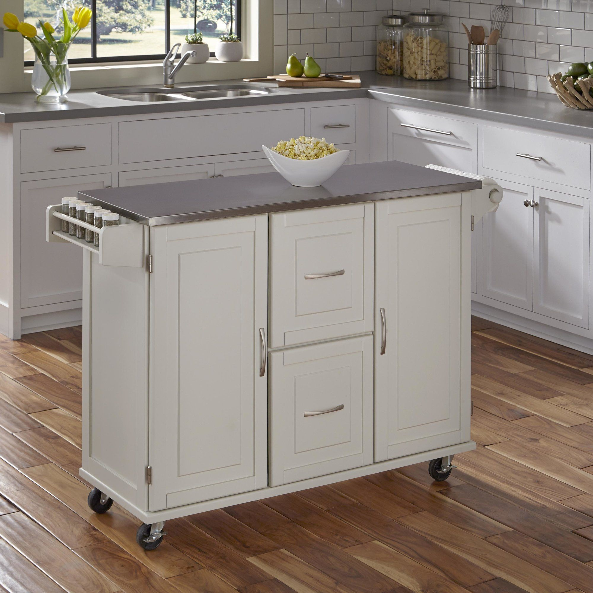 Lomas Kitchen Island With Stainless Steel White Kitchen Cart Off White Kitchens Kitchen Furniture