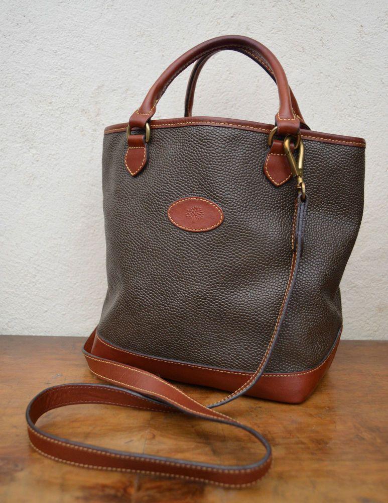 Authentic Mulberry Scotchgrain Leather Trim Grab Bag Satchel Vtg Ex Condition