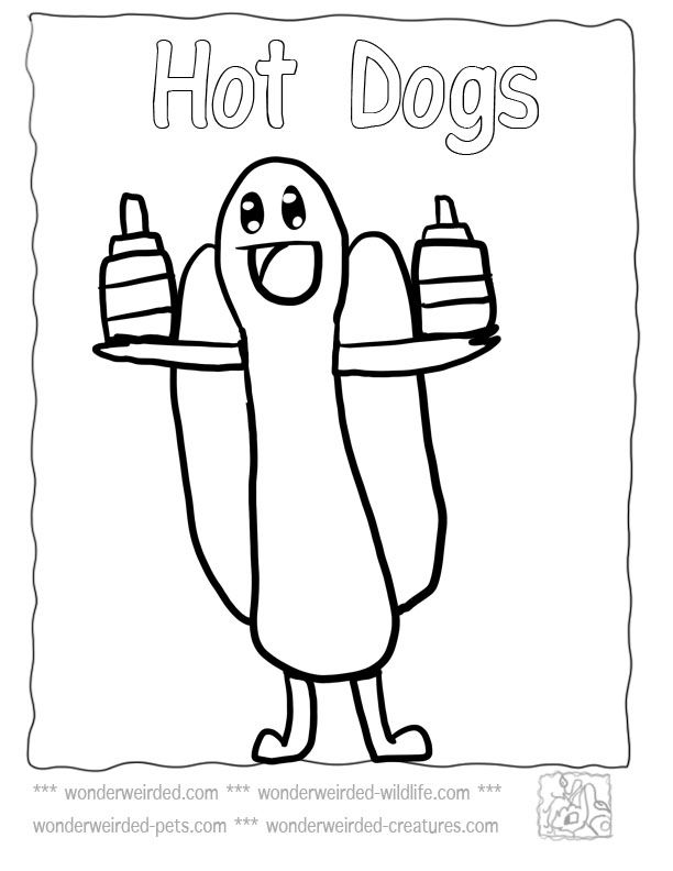 Food Coloring Page Cartoon Hot Dog Echo S Free Food Coloring Page
