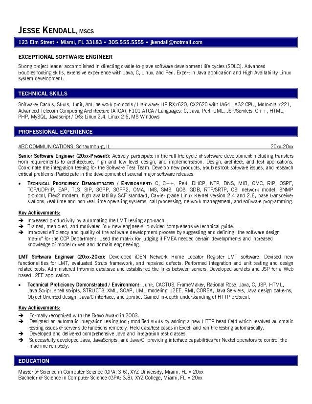 Sample Resume For Software Engineer | Sample Resume And Free