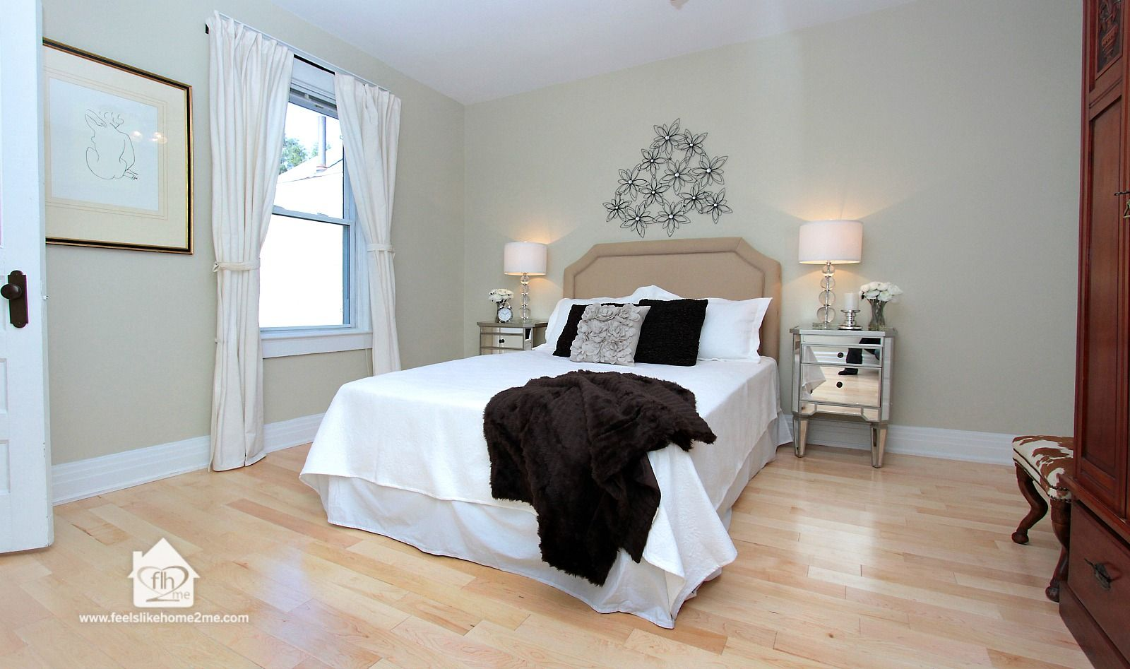Master bedroom without bathroom  Home Staging in High Park Toronto master bedroom staging to appeal