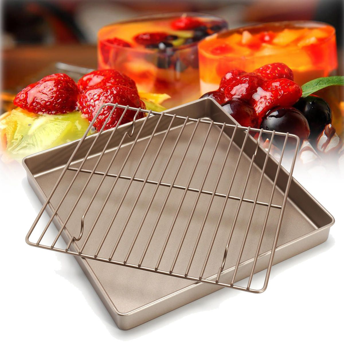 11 Golden Square Kitchen Cooling Rack Bread Holder Stand Baking