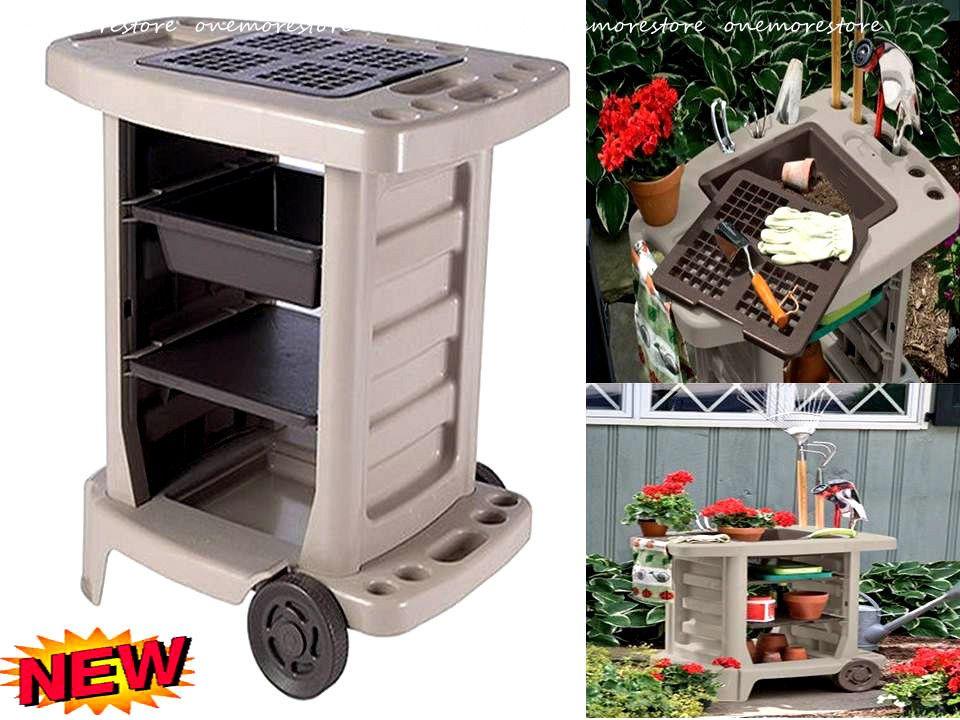 Garden Service Carts Rolling Wheels Storage Tools Utility Bin Planting  Gardener