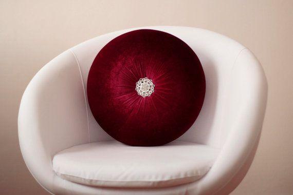 Velvet Round pillow with rhinestone button by originalboutique, $37.50