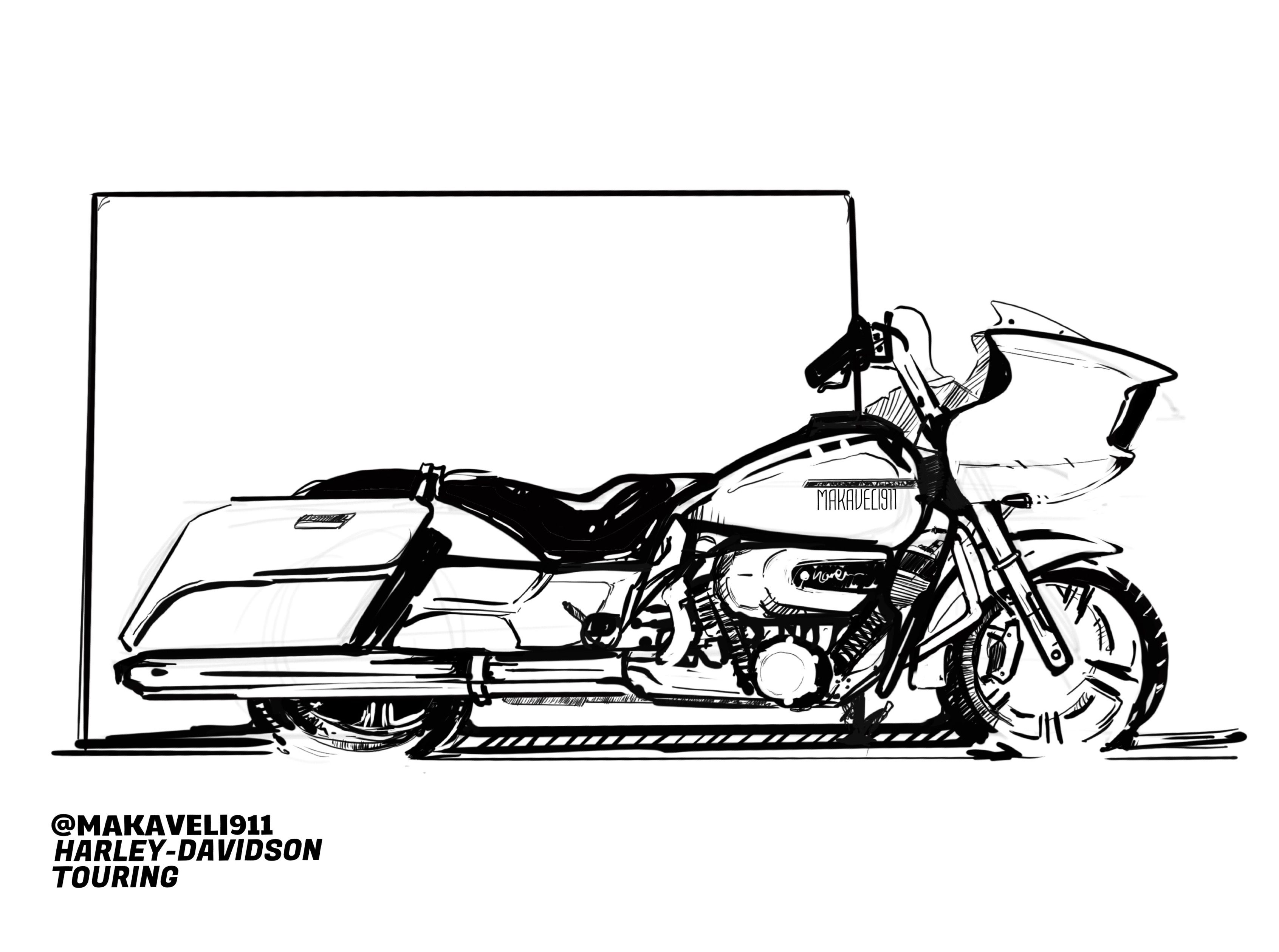 Harley Davidson Drawing Road Glide Street Sketch Is The Trke Wiring Harness For Hd Key To Relax Any Artist Inktober2017