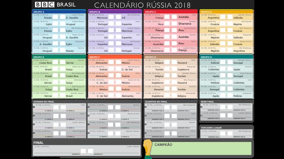 Baixe Aqui A Tabela De Jogos Da Copa Da Russia 2018 No Horario De Brasilia Bbc News Brasil Copa Da Russia Copa Copa Do Mundo 2018