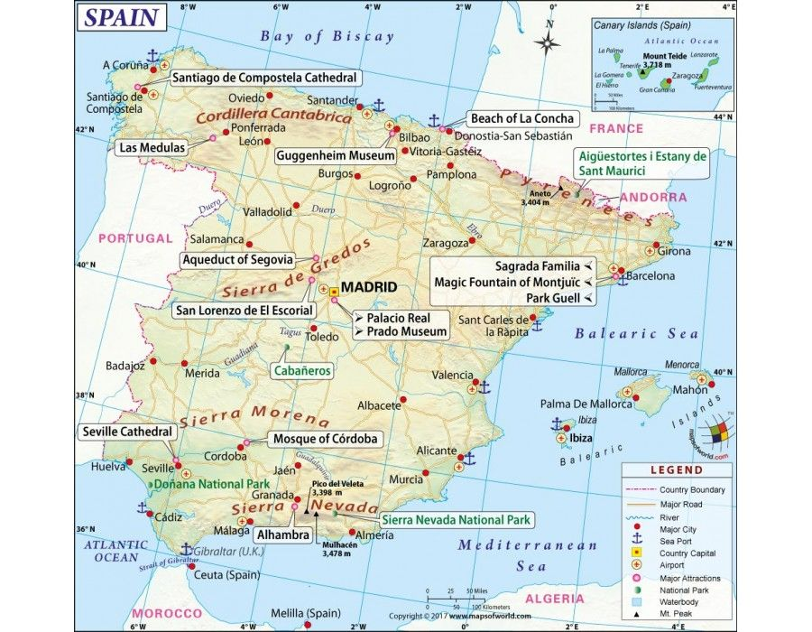 Spain Map store mapsofworld Pinterest Spain Country maps and