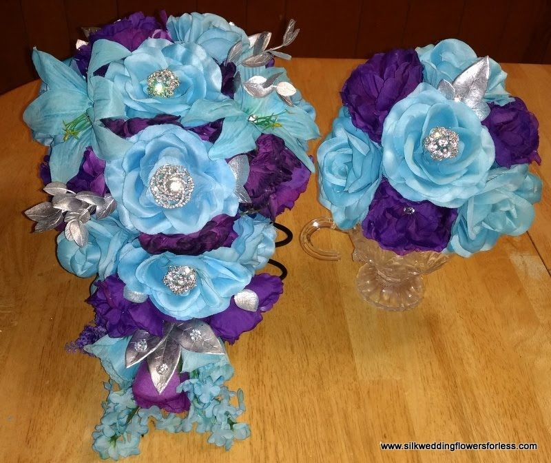 Malibu Blue Cornflower Blue Truffle Brown And Begonia Pink Bouquets And Sets Silk Wedding Flowers For Less Silk Flowers Wedding Pink Bouquet Wedding Flowers