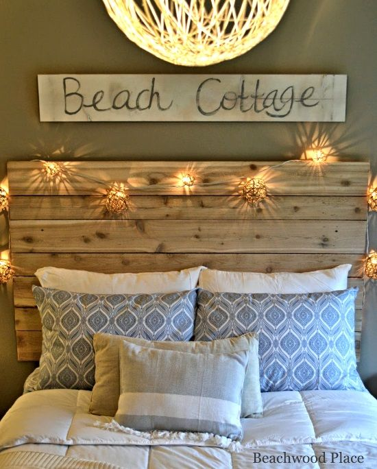 Beach Theme Guest Bedroom With DIY Wood Headboard Wall Art And Lots Of Annie Sloan Chalk Paint