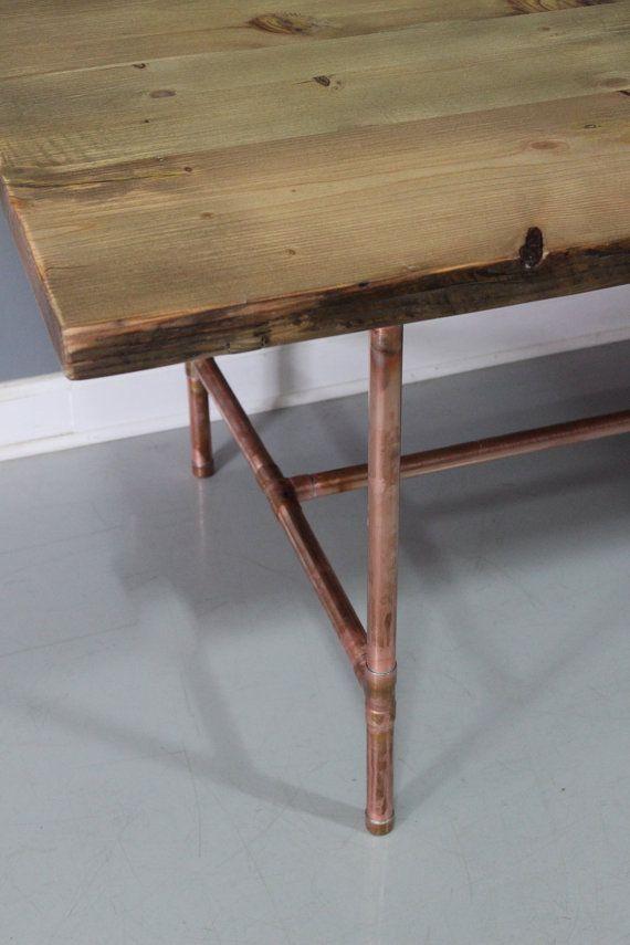Table Avec Pieds En Cuivre Real Copper Leg Dining Table Reclaimed Wood Copper Cuivre Rame Copper Dining Room Table Dining Table Copper Copper Furniture