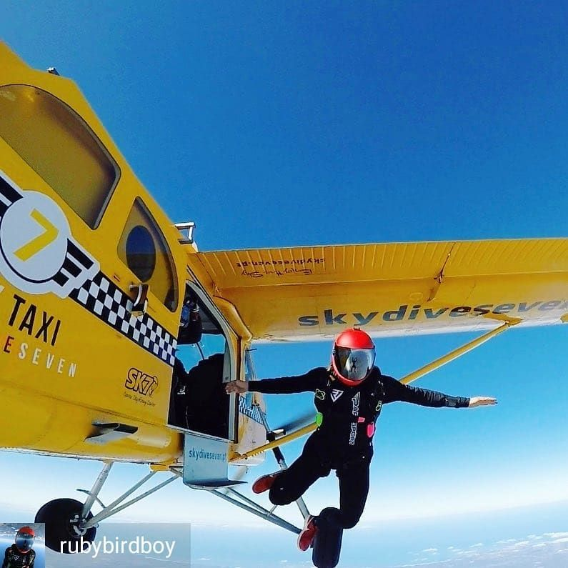 Rubybirdboy Exit Is My Favourite Part Yellow Plane Colorfull Bluesky Algarve Portugal Seven Skydive Exit In 2020 My Favorite Part Algarve Skydiving
