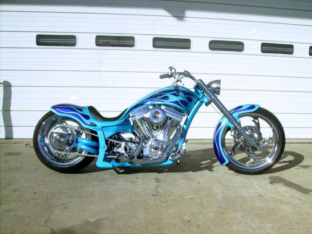 Beau Custom Bike With Blue Flames