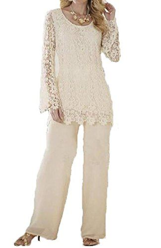 d30b5693065 Dislax Two Piece Lace Mother of Bride Pants Suit Ivory US... https