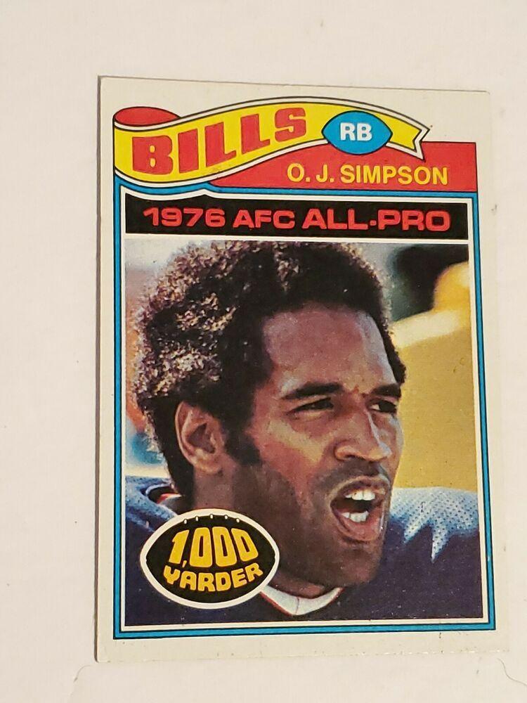 1977 topps oj simpson 100 football card chicago bears