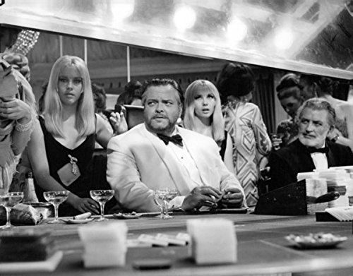 Orson Welles as Le Chiffre in Casino Royale with Jennifer and Susan Baker. 5x7 photo reprint @ niftywarehouse.com #NiftyWarehouse #Bond #JamesBond #Movies #Books #Spy #SecretAgent #007