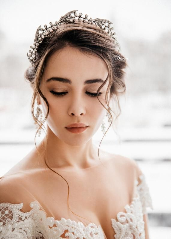 Bridal Silver Tiara, Wedding Leaf Tiara, Wedding Crown, Wedding Hair Accessory, Wedding Headpiece, Bridal Hair Halo, Ready to ship - NAOMI #bridalheadpieces