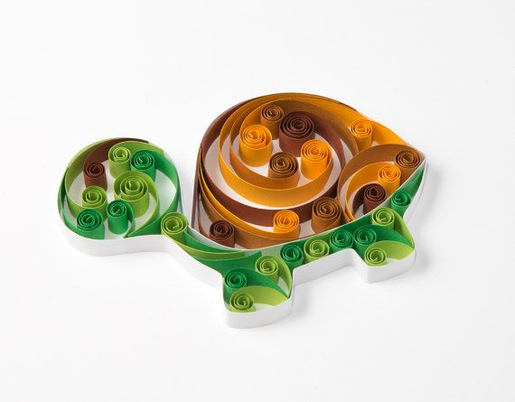 Lindo Quilling arte verde tortuga única guardería dulce arte cuadros ...