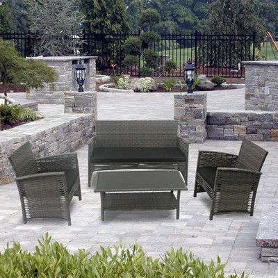 Vandue Corporation Modern Home Del Mar Woven Wicker 4 Piece Deep Seating Group Color: Black