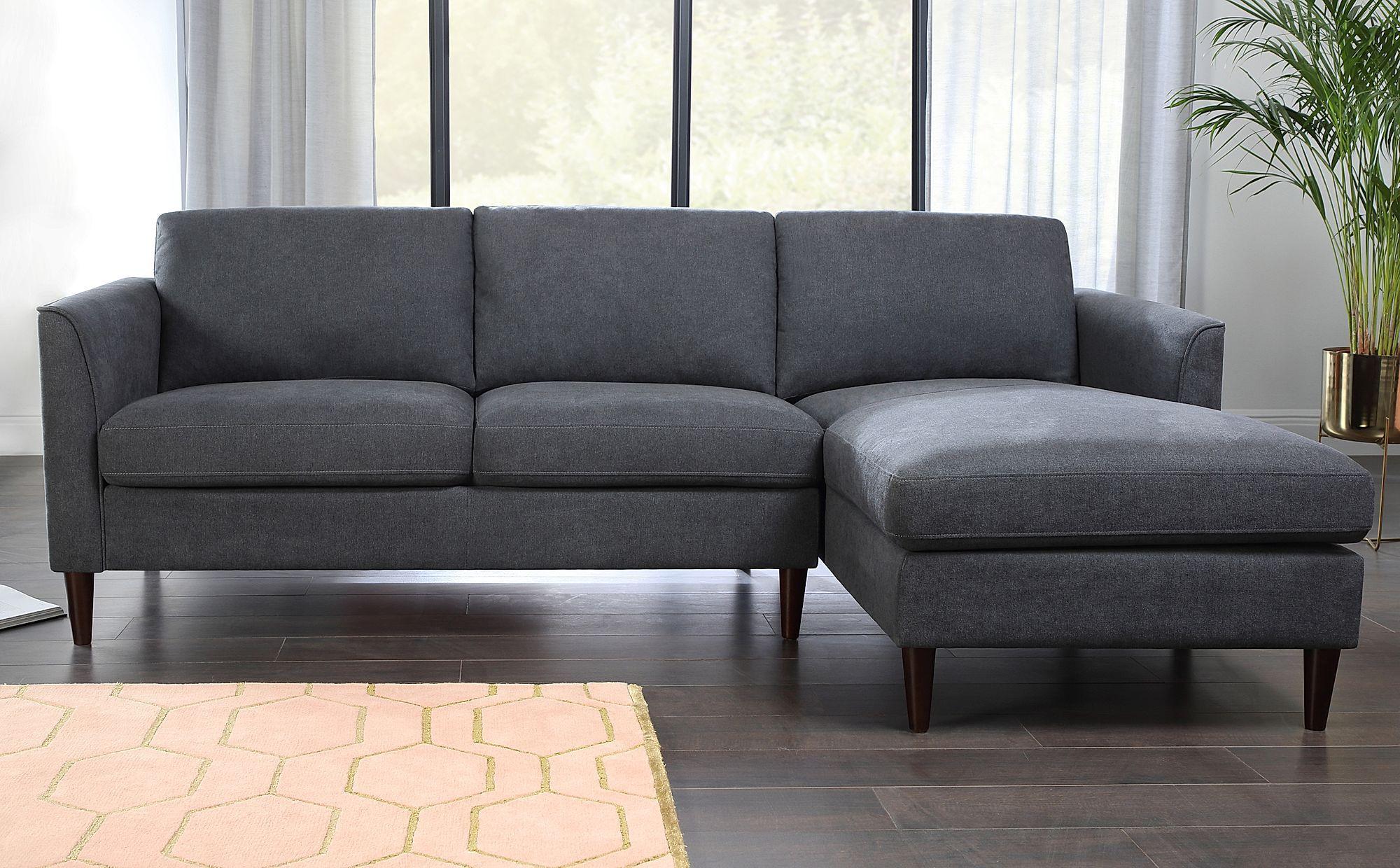 Hayward Slate Grey Plush Fabric L Shape Corner Sofa Rhf Furniture Choice In 2020 Corner Sofa Furniture Choice L Shaped Couch