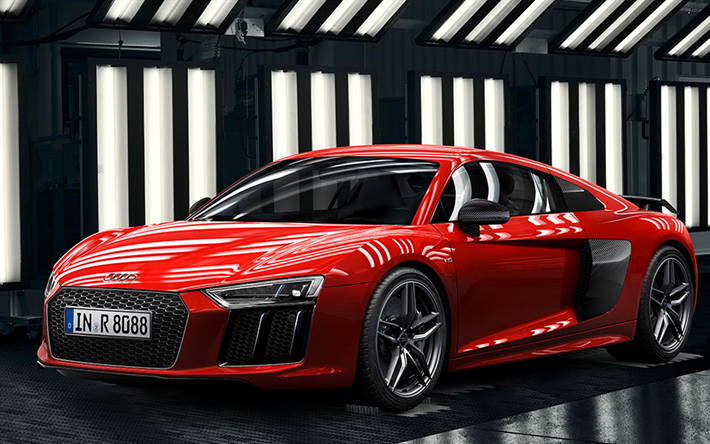 Download Wallpapers Audi R8 V10 Coupe, 4k, 2018 Cars, Supercars, Audi R8