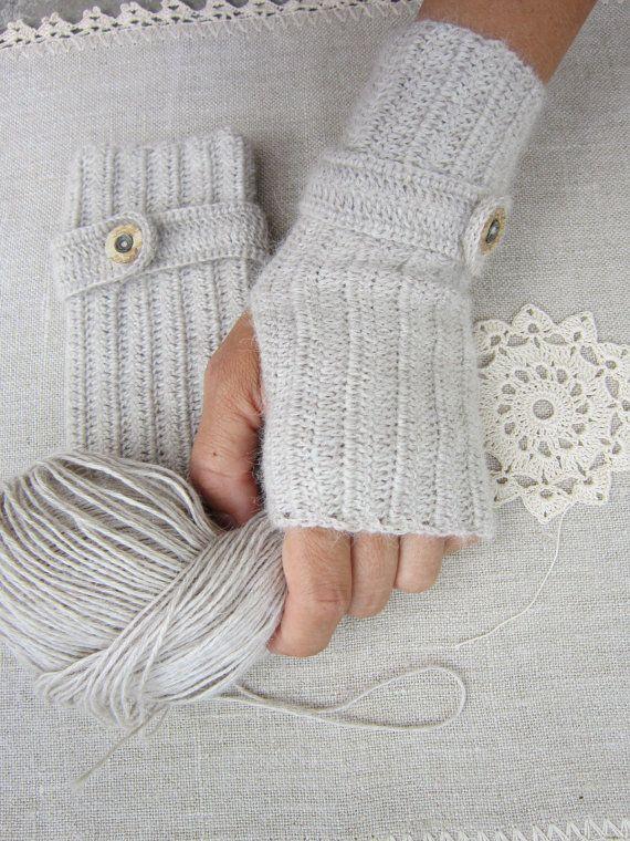 Crochet arm warmers baby alpaca merino silk fingerless gloves ...
