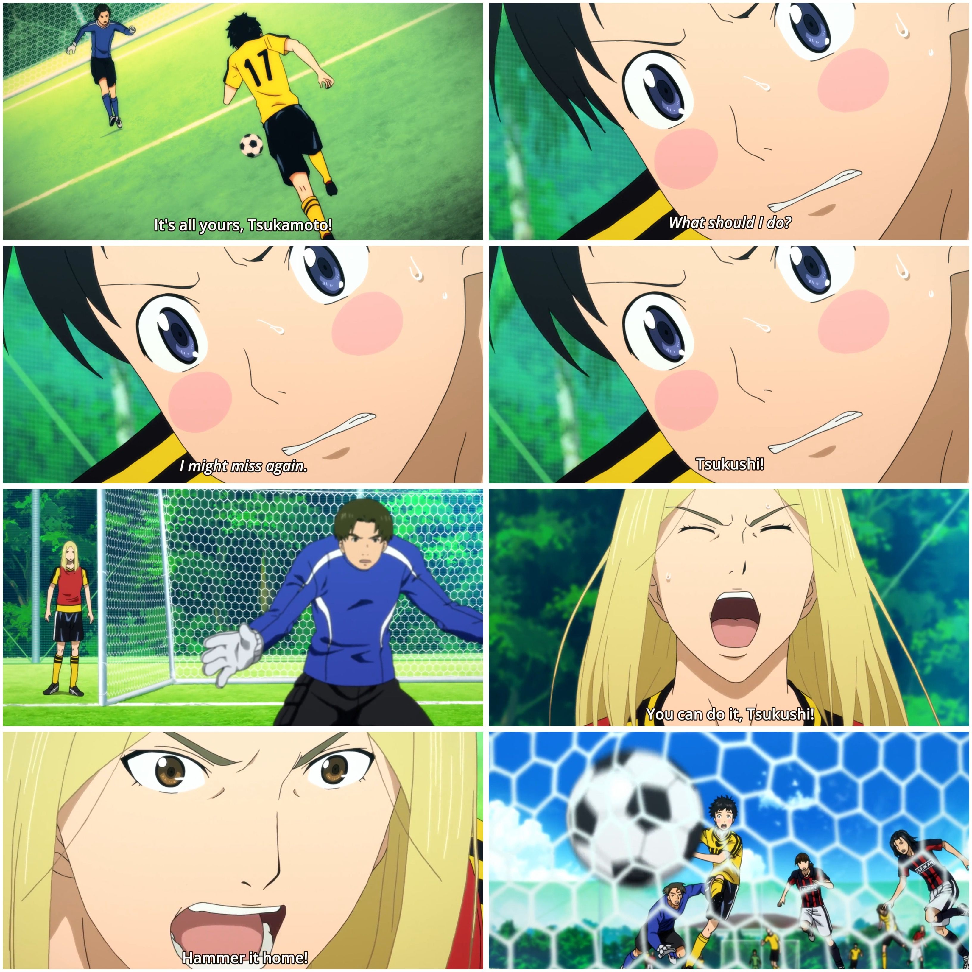 You Can Do It Tsukushi Hammer It Home Days Tv Soccer Anime Tsukamoto Tsukushi And Kazama Jin Sports Anime Anime Day
