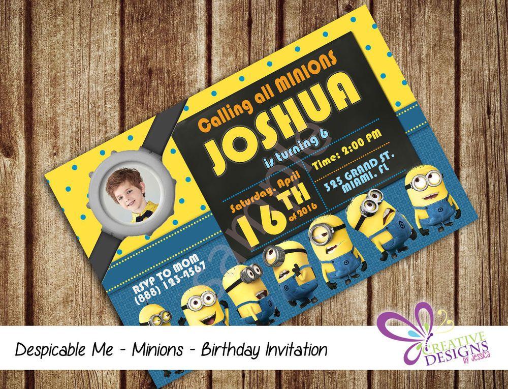 Minions Birthday Invitation Personalized Digital Printable File