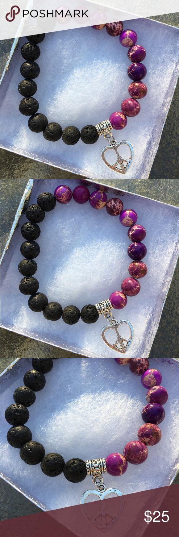Black Lava Rock and Purple Jasper Beaded Bracelet