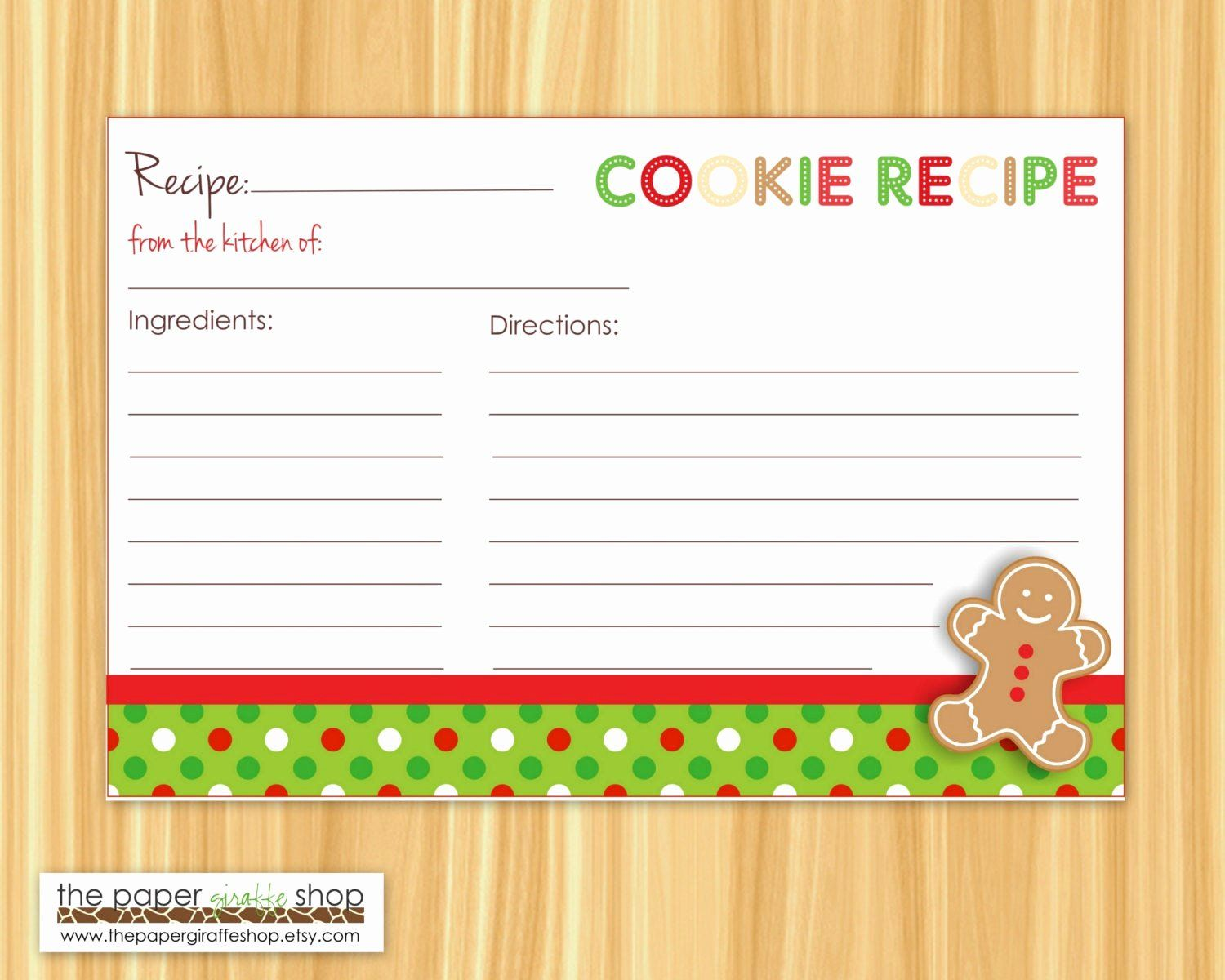 Christmas Recipe Card Template Inspirational Editable Cookie Exchange Party Recipe Cards Editable And In 2020 Recipe Cards Template Christmas Recipe Cards Recipe Cards