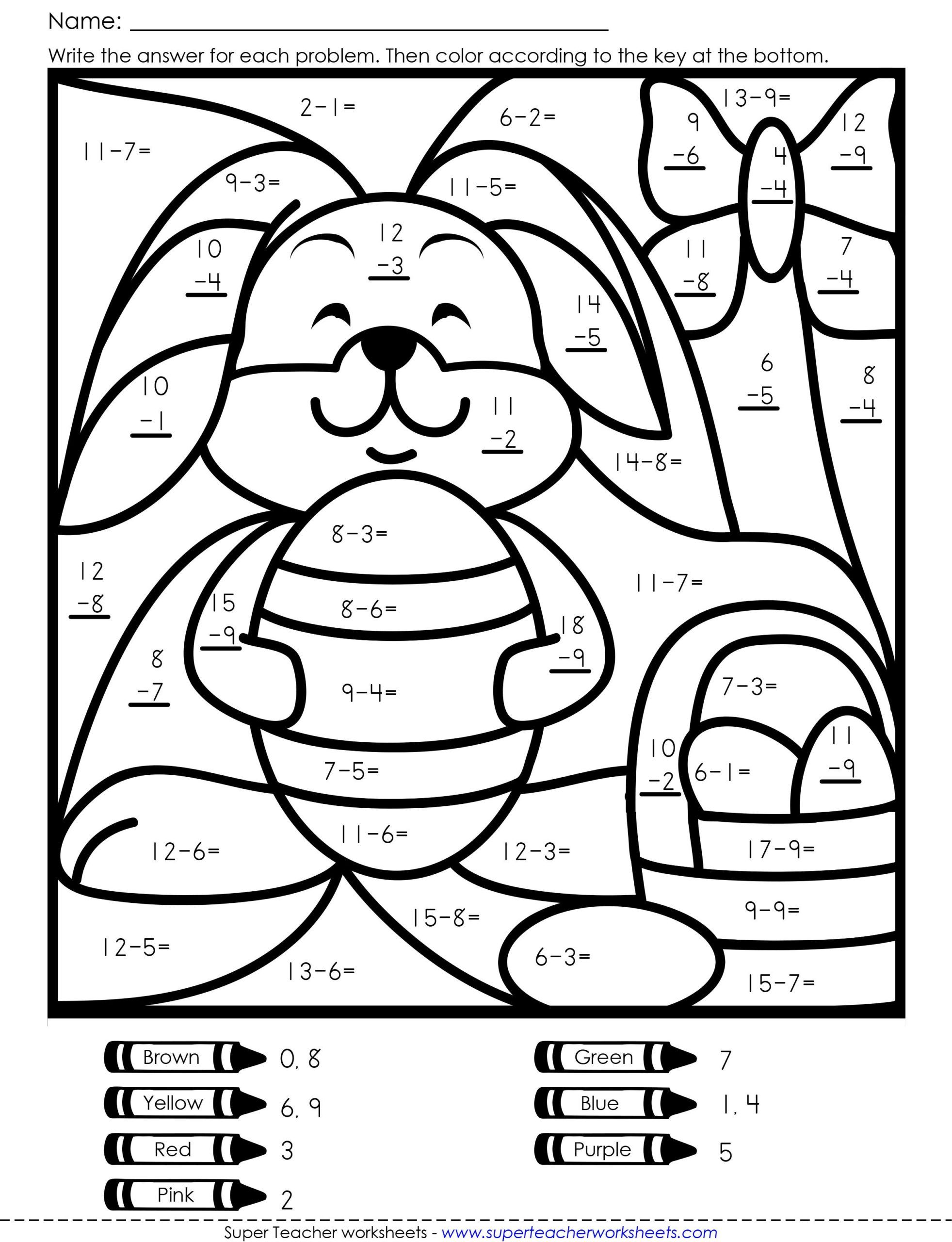 medium resolution of Coloring Addition Worksheets For Grade 1 - colouring mermaid   Easter math