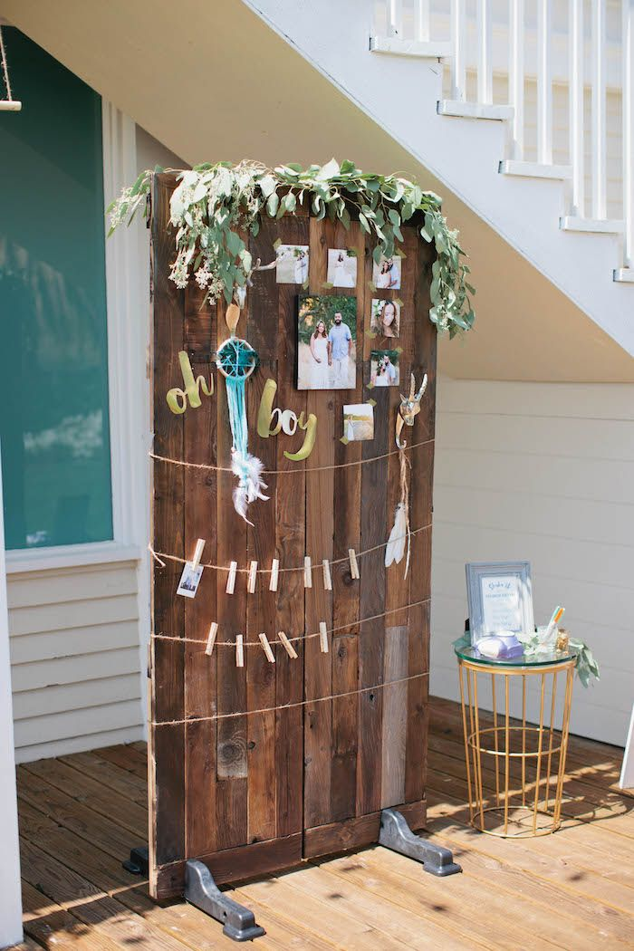 Baby Showers Backdrop ~ Backdrop for guests to hang their pictures on from a boho