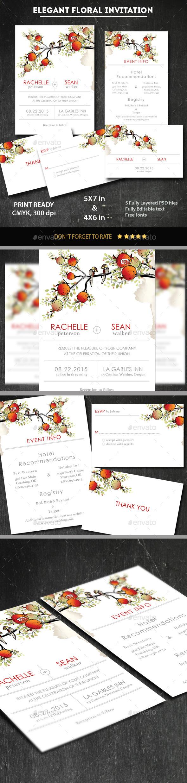 Elegant Painted Floral Wedding Invitation