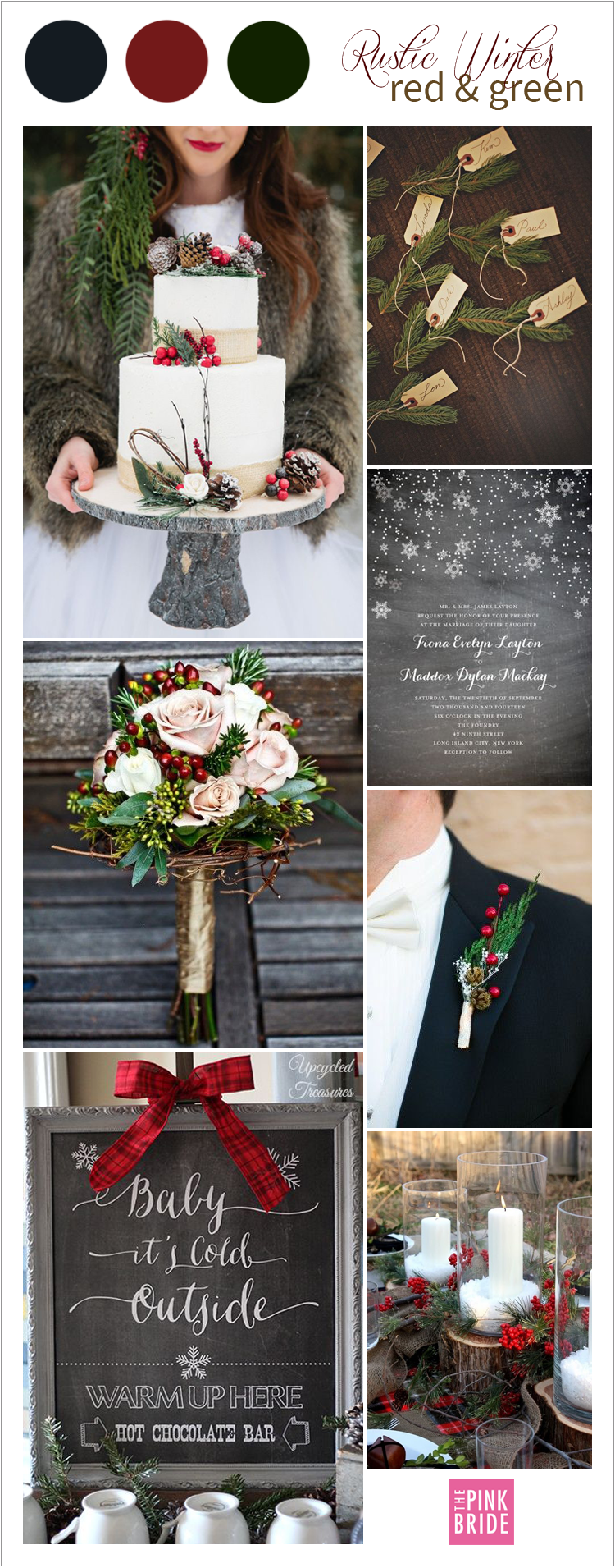Wedding Color Board: Rustic Winter Red & Green - The Pink Bride