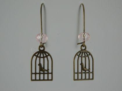 Boucles d'oreilles cage à oiseau