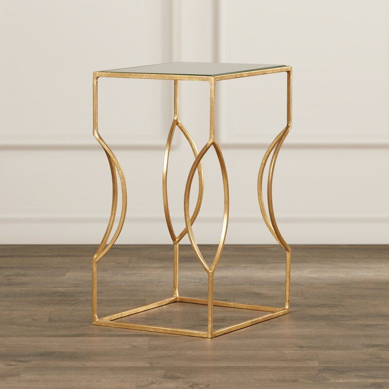 Rex Glass Top Sled End Table In 2021 Gold End Table Glass Top End Tables End Tables