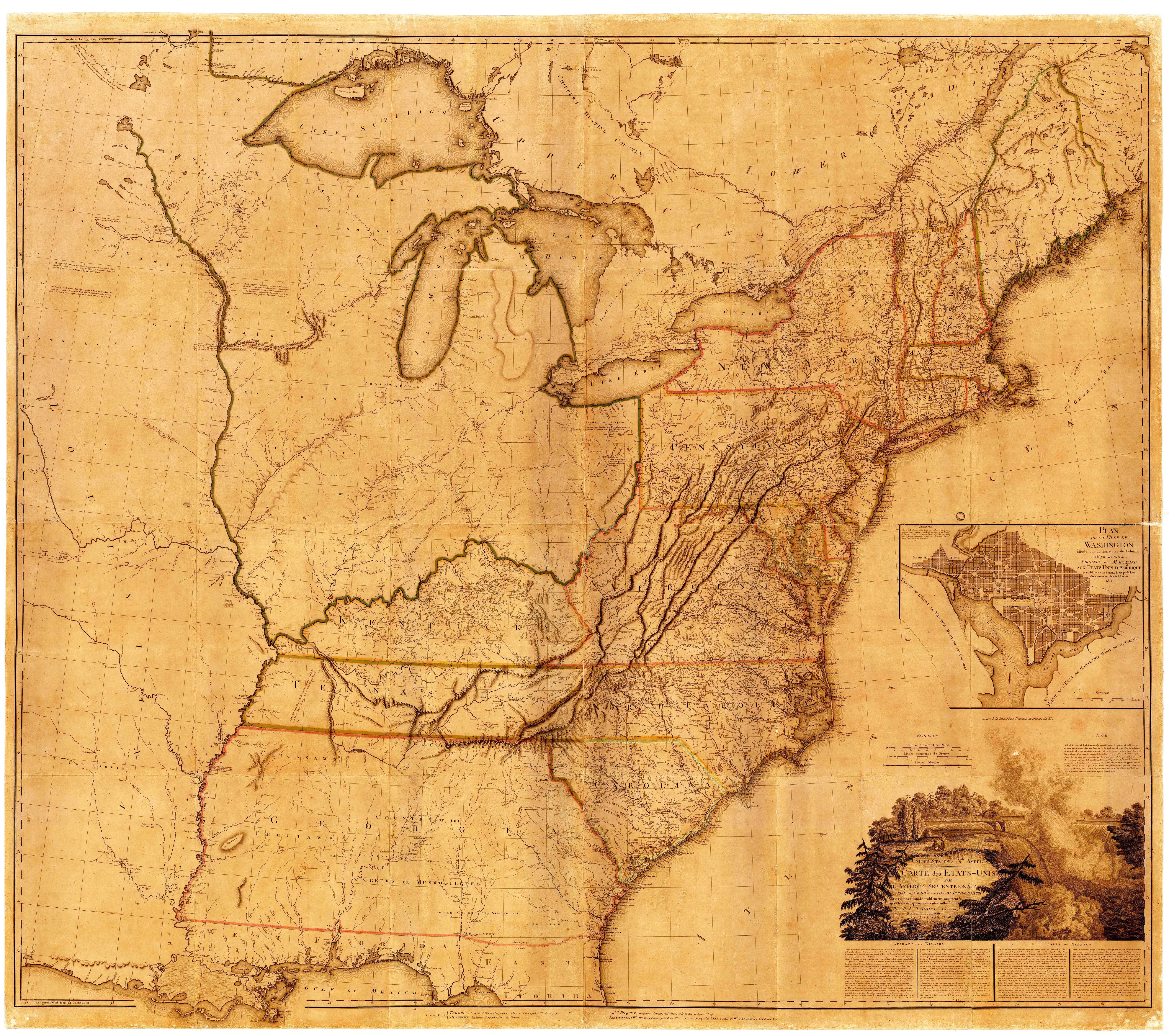United States Of Nth America Carte Des Etats Unis De L Amerique