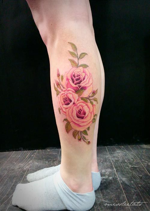 Rose Tattoo Images Designs Calf Tattoo Pink Rose Tattoos Rose Tattoos